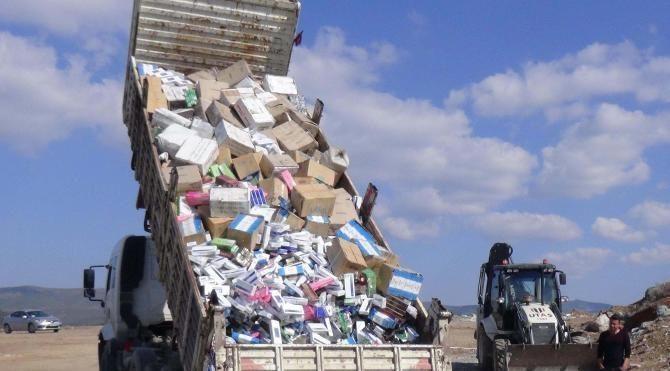 Uşak'ta 116 bin paket kaçak sigara imha edildi
