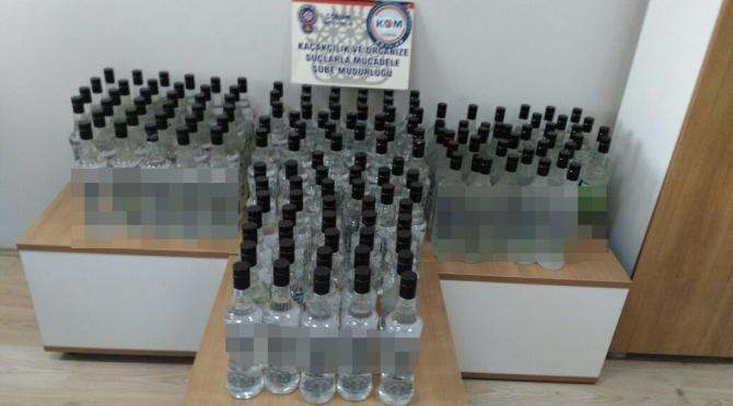170 şişe sahte rakı ele geçirildi