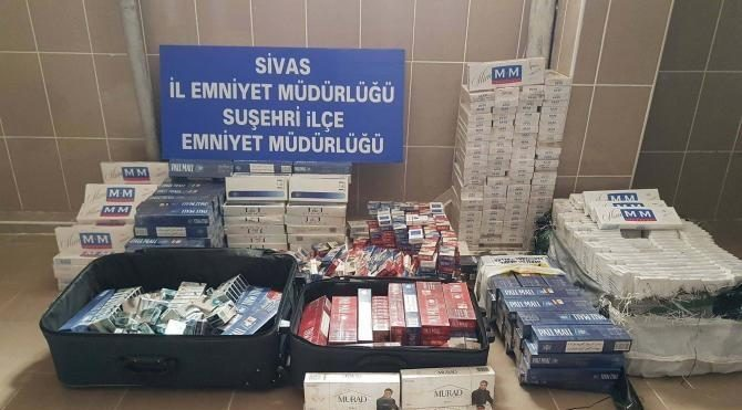 Sivas'ta 4 bin 85 paket kaçak sigara ele geçirildi