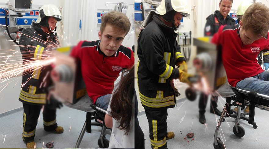 Elini kaptırdığı kıyma makinesi ile hastaneye getirildi