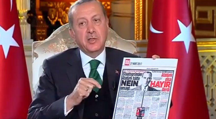 Cumhurbaşkanı Erdoğan da Bild'in manşetini, Atatürk üzerinden yüklenmişti.