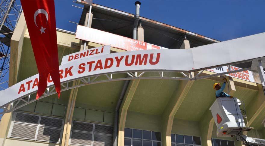Erdoğan'a hazırlık için 'Denizli Atatürk Stadı' tabelası söküldü