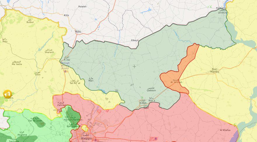 Harekatla birlikte Türkiye sınırındaki yeşil bölge ÖSO/TSK kontrolüne geçti.