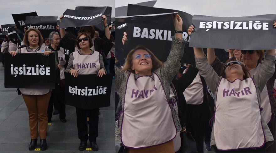 FOTO:DHA - Selvi Kılıçdaroğlu (en önde sağdaki) Y harfinin en önünde yer aldı.