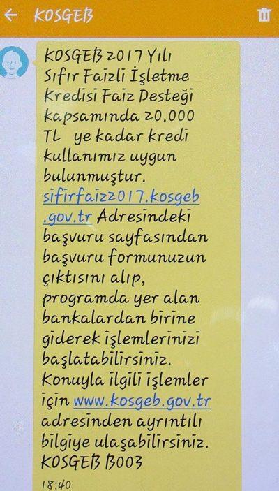 KOSGEB kredisi onaylanan bir vatandaşa gelen SMS Fotoğraf:İHA