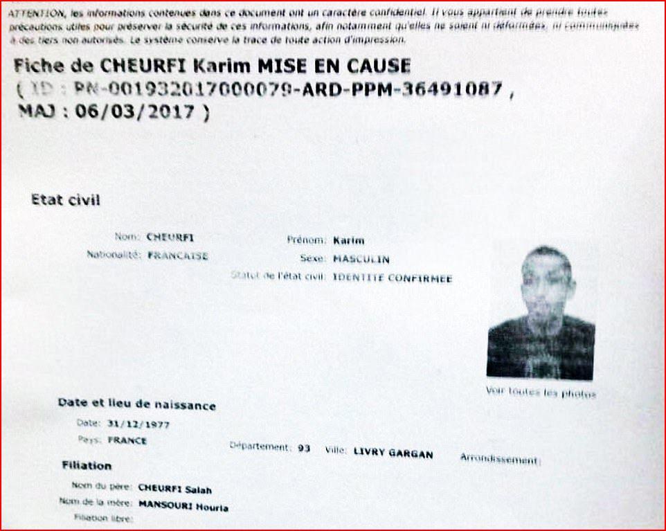 Şubat ayında bir terör operasyonunda gözaltına alınan ve delil yetersizliğinden serbest bırakılan Cheurfi hakkında düzenlenen belge...