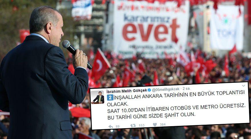 'Evet mitingi' için Ankara'da toplu taşıma ücretsiz olacak