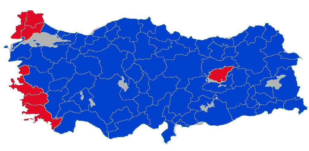 Yeşiller 'evet' kırmızılar 'hayır' 2007 referandumu sonuçları...