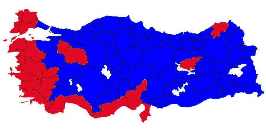 Yeşiller 'evet' kırmızılar 'hayır' 2010 referandumunda da yüksek oranda 'evet' çıktı.