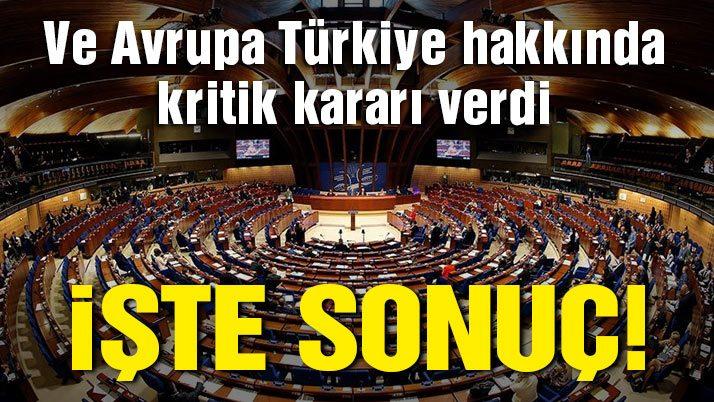 Son dakika… Avrupa Konseyi Parlamenterler Meclisi'nden flaş Türkiye kararı