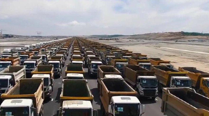 3. Havalimanı'nda 1453 kamyonla rekor denemesi