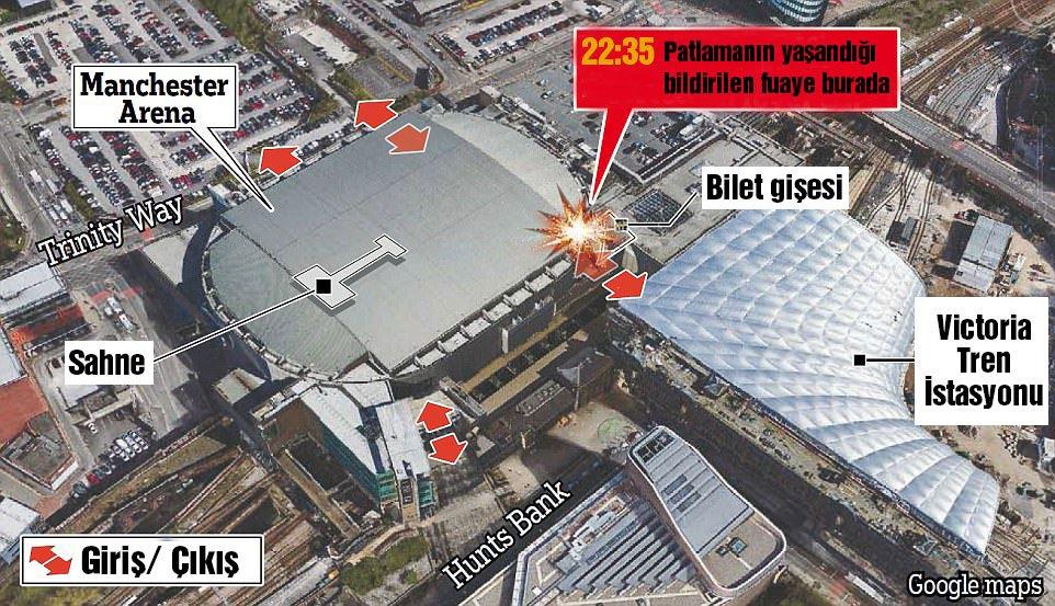 İngiliz Daily Mail gazetesinin haberine göre; patlama konser salonunun fuayesinde yaşandı.