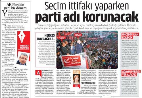Star Gazetesi seçimlerde kurulacak ittifak konulu haberine yarım sayfa yer verdi.