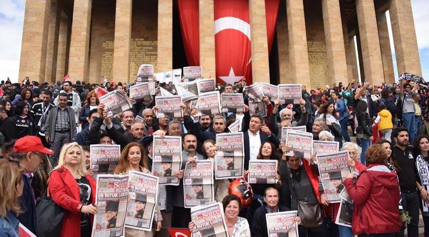 Anıtkabir'de Sözcü'ye yapılan algı operasyonu protesto edildi