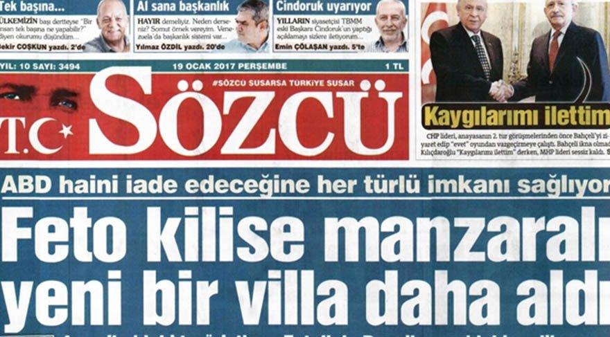 'Sözcü Gazetesi iktidar lehine bir numaralı yayın organıdır'