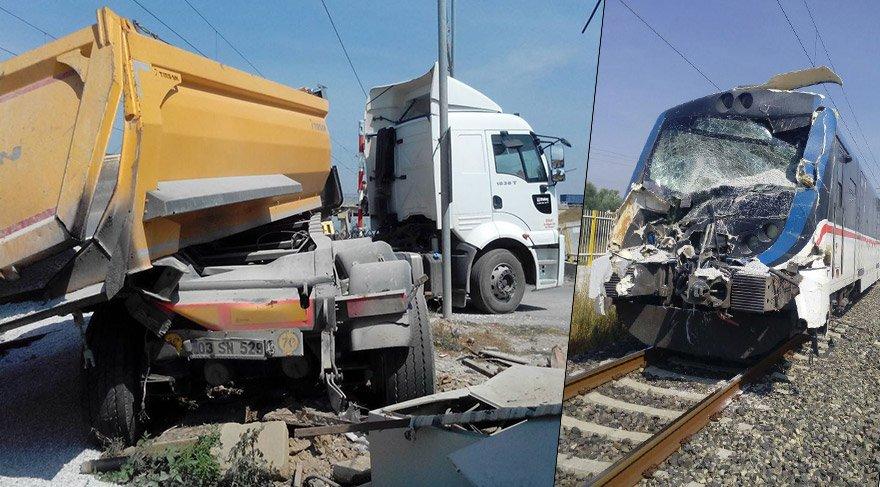 İzmir'de feci kaza… Kamyonla tren çarpıştı
