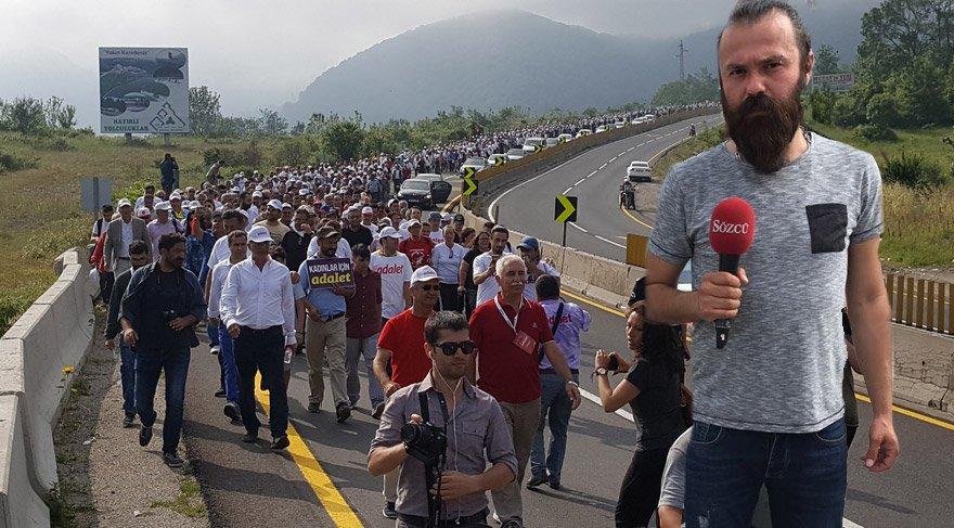 Sözcü TV ekibi de yürüyüşü adım adım takip ediyor.