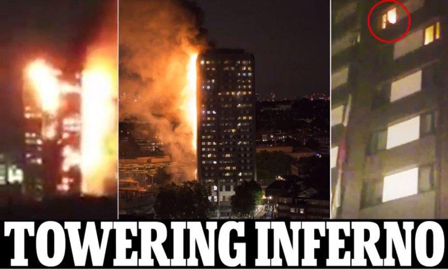İngiliz medyası olayı anbean takip ediyor. Daily Mail gazetesinin internet sitesi 'Cehennem Kulesi' başlığını tercih etti. Gazetenin manşetine taşıdığı fotoğrafta binada mahsur kalan bir kişi görülüyor.