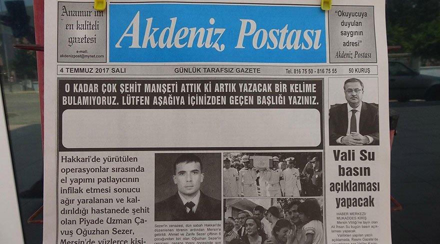 Şehit haberine başlık bulamadı, manşeti boş yayınlandı