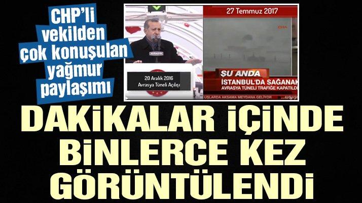 İstanbul'u yağmur vurdu! Sosyal medya bu videoyu konuştu