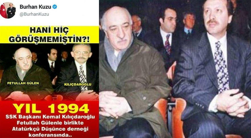 Burhan Kuzu, Erdoğan'ın yerine Kılıçdaroğlu'nun montajlandığı kareyi paylaştı.