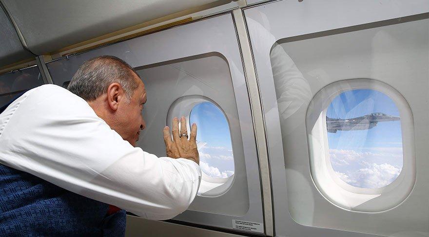 Erdoğan'a savaş jetleri eşlik etti