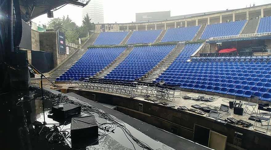 Duman konserine fırtına engeli
