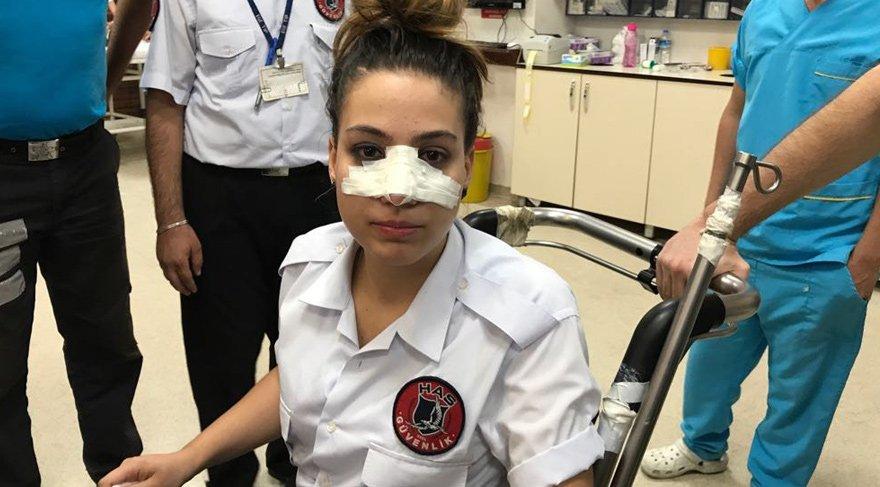 Dehşet verici olay! Su şişesi ile kadın güvenliğin burnunu kırdılar