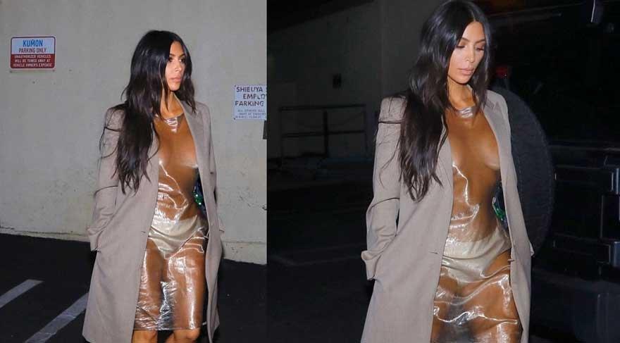 Kim Kardashian giydiği plastik elbise ile şok etti