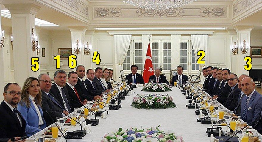 Binali Yıldırım'ın dünkü görüşmesinden bir kare... 1) Mercedes Benz Türkiye CEO'su Süer Sülün 2) BASF Türkiye CEO'su Buğra Kavuncu 3) Siemens Türkiye CEO'su Hüseyin Geliş 4) Bosch Türkiye CEO'su Steven Young 5) PWC Türkiye Başkanı Haluk Yalçın 6) Media Markt Türkiye CEO Yenal Gökyıldırım
