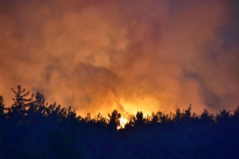 FOTO: İzmir'deki yangın da henüz kontrol altına alınabilmiş değil.