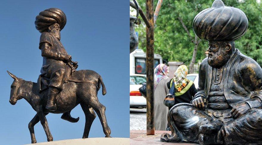 Akşehir'de belediyenin yaptırdığı bu heykellerden bulunuyor.