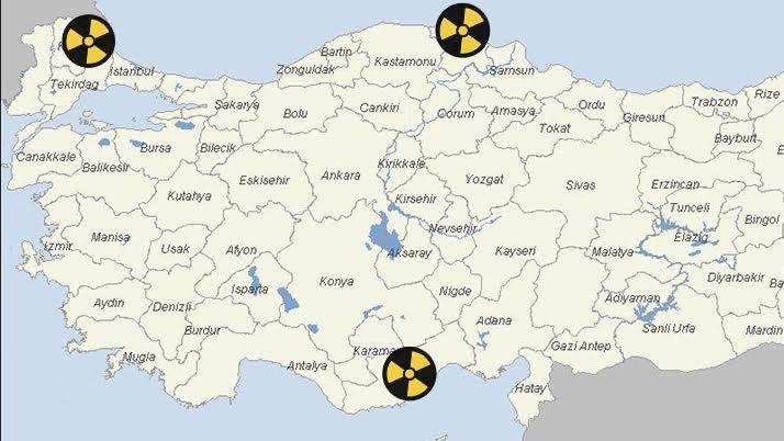Türkiye'nin nükleer santral haritası