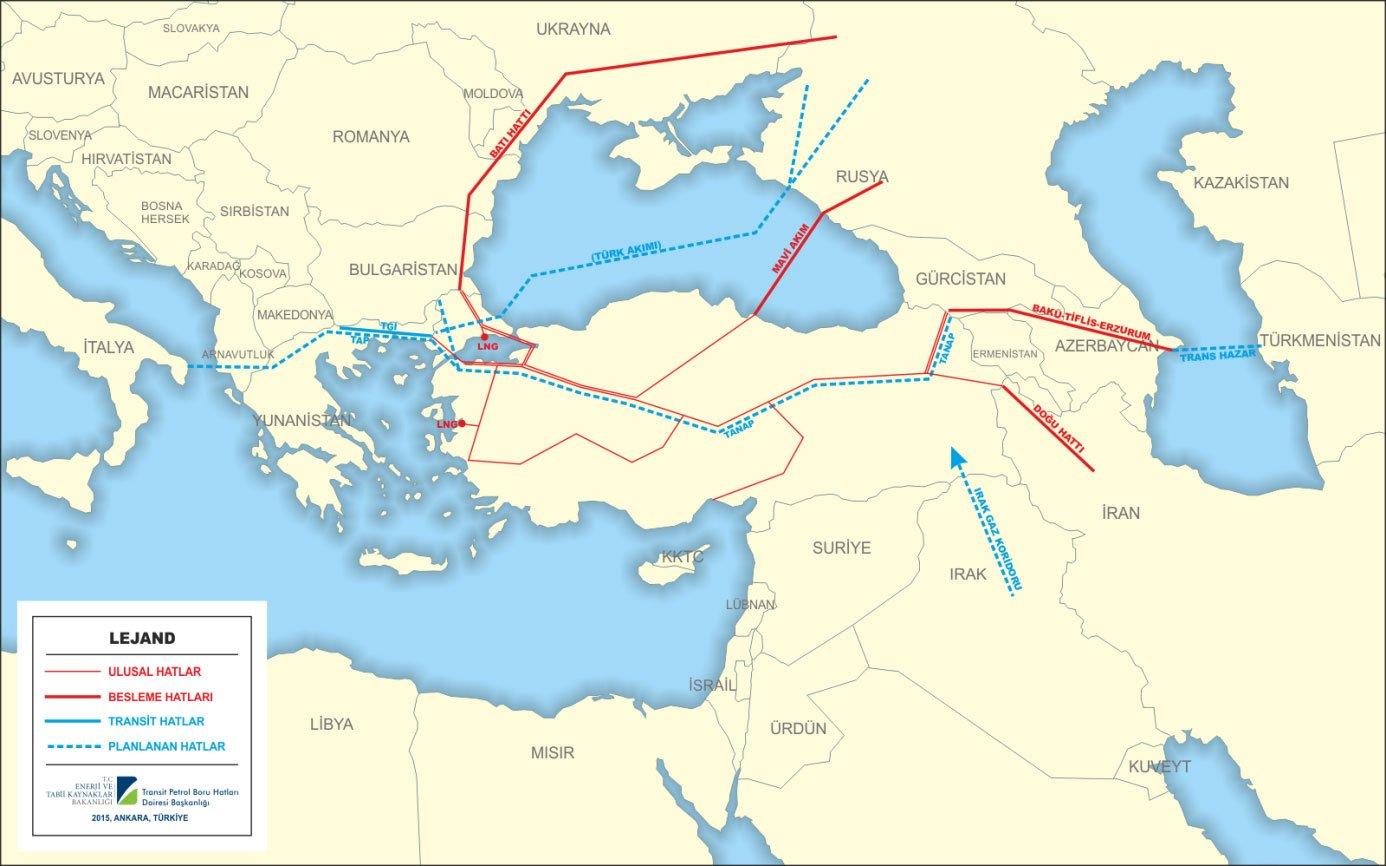 RUSYA – TÜRKİYE DOĞAL GAZ BORU HATTI (BATI HATTI) HARİTA: ENERJİ BAKANLIĞI