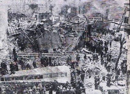 Patlama sonrası bir çok bina hasar gördü. 10 milyon lira hasar oluştu. KROKİ: Milliyet Gazetesi