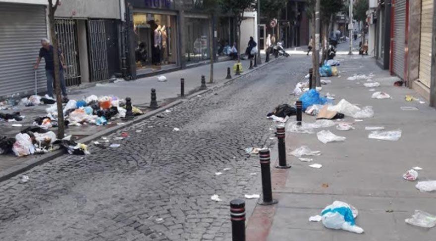 Şişli'de temizlik işçileri iş bıraktı çöpler ortada kaldı!