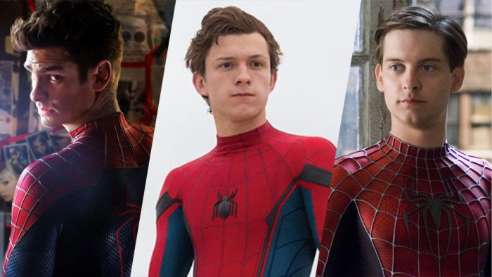Spiderman filmlerinin aktörleri. Soldan sağa: Andrew Garfield, Tom Holland, Tobey Maguire.