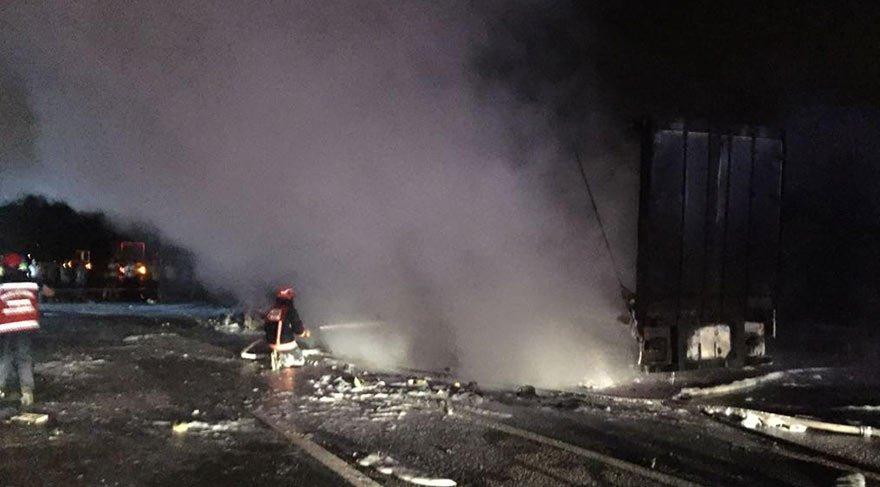 TEM'de korkunç kaza! 2 kişi yanarak öldü
