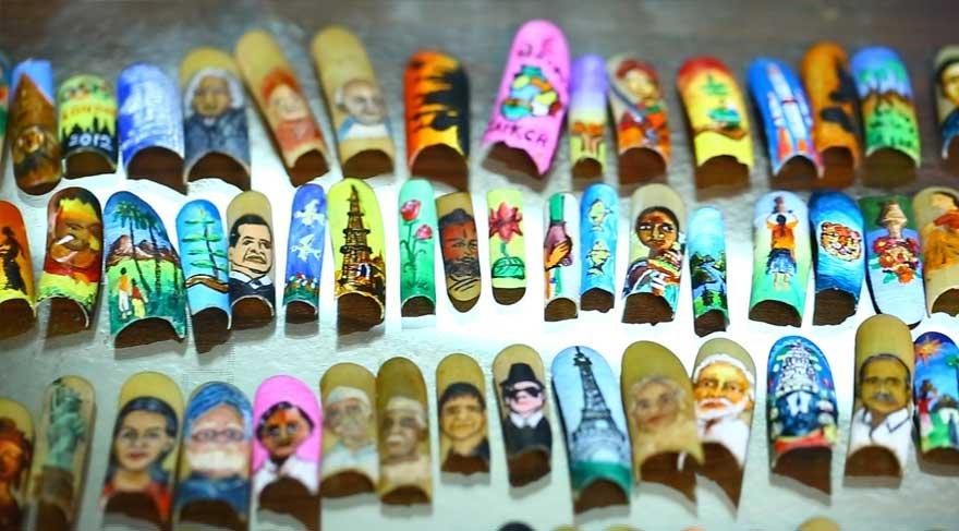 Hindistanlı sanatçı tırnaklarıyla sanat yapıyor