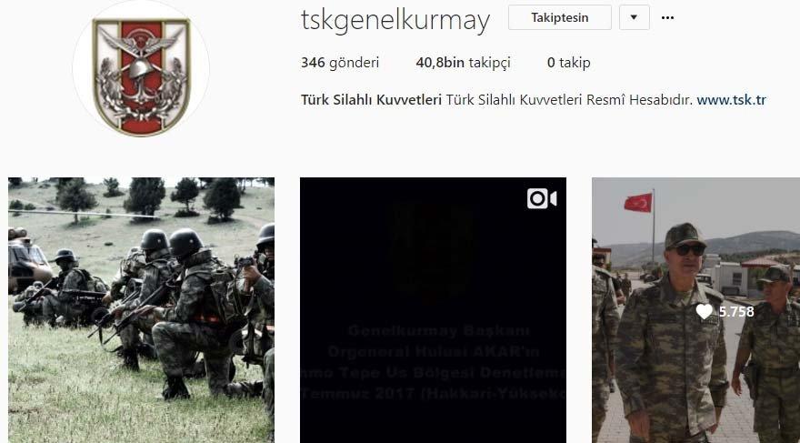 TSK, Instagram'da hesap açtı
