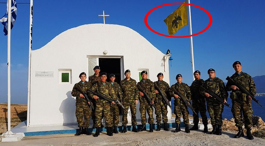Ege'deki Türk adalarına Bizans bayrağı çektiler!