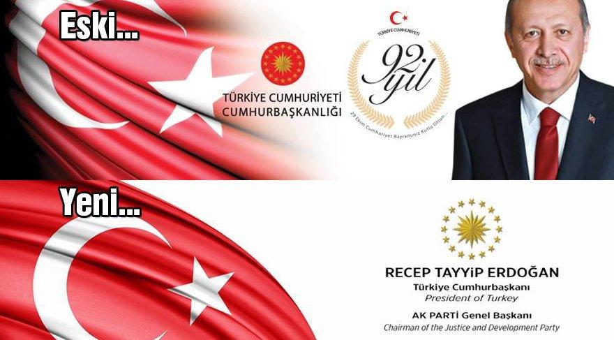 """Erdoğan'ın facebook hesabından da """"T.C. ibaresinin kaldırıldığı gözlendi."""