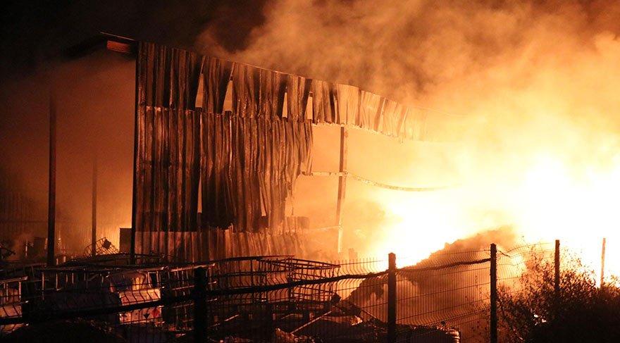Denizli'de katı atık üretim tesisinde yangın çıktı