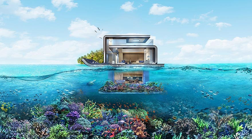 Dubai su villalarının yapımına başladı
