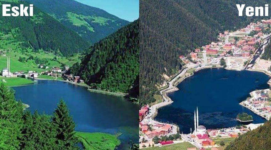 Trabzon'un Uzungöl bölgesi yıllar içinde büründüğü beton hal ile dikkat gündem olmuştu.