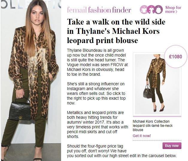 Daily Mail, genç kızın 1000 dolarlık bir elbise giydiğini okuyucularına duyurdu.