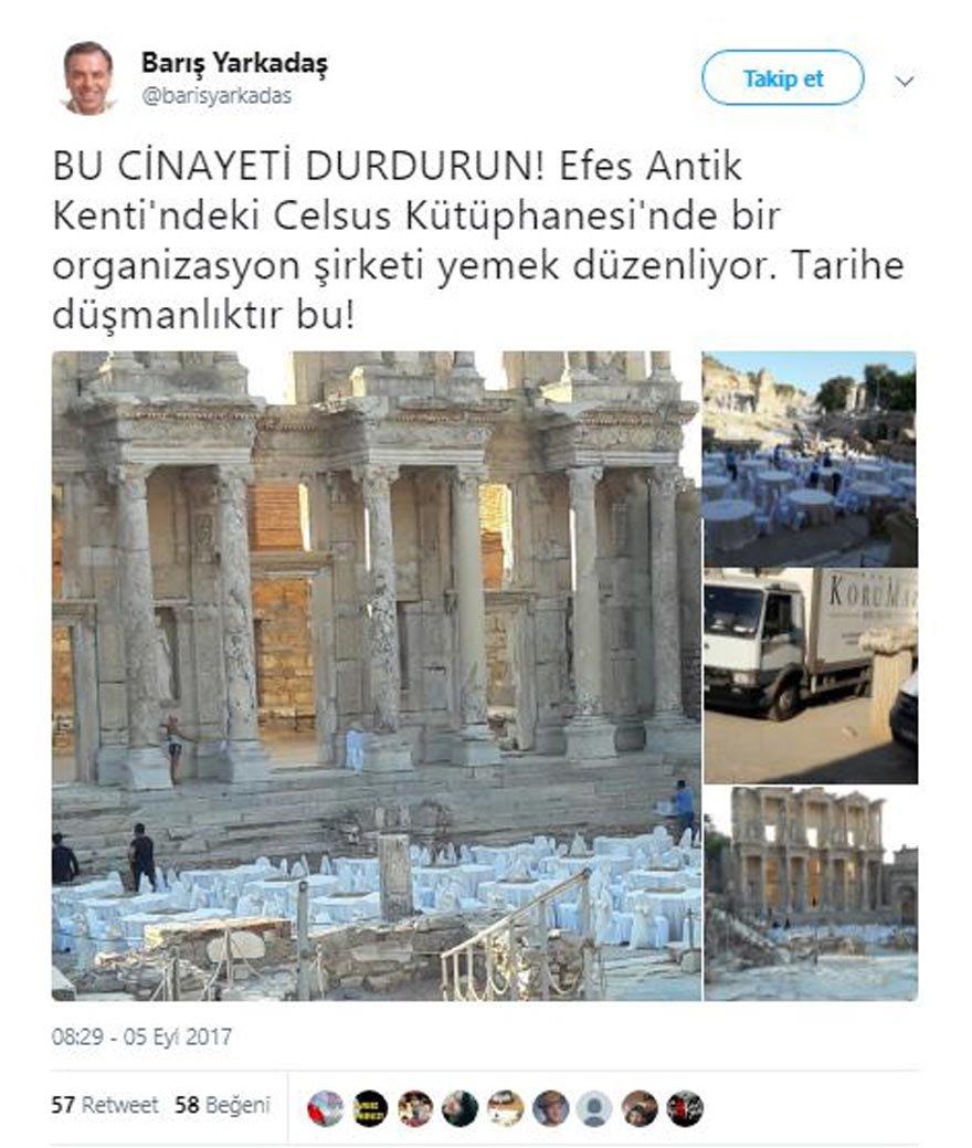 CHP milletvekili Barış Yarkadaş, sosyal medyadan Efes Antik Kenti'nde yemek düzenlenmesine tepki gösterdi.