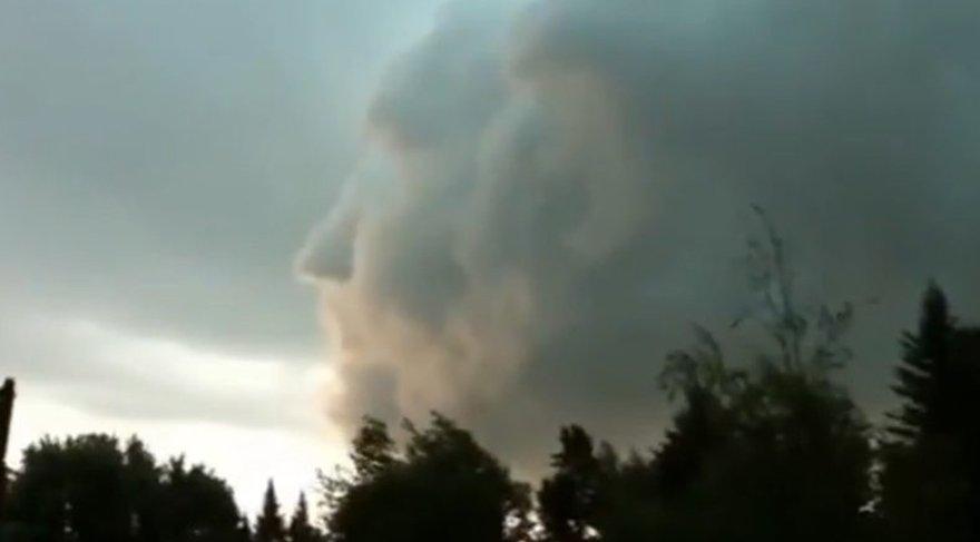 Irma Kasırgası'nda gökyüzünde oluşan esrarengiz yüz silüeti