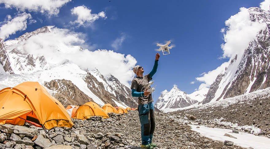 Dünyanın en tehlikeli dağı drone ile görüntülendi
