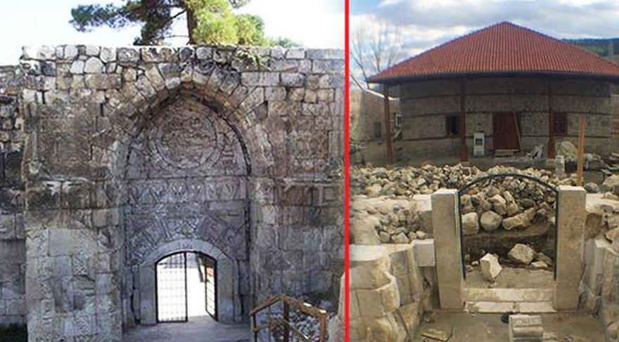 800 yıllık taş kapıyı harap ettiler!